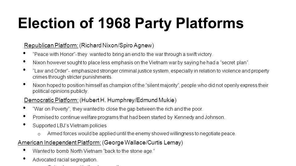 Election of 1968 Party Platforms