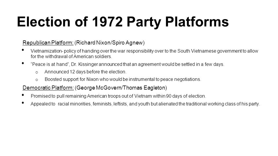 Election of 1972 Party Platforms