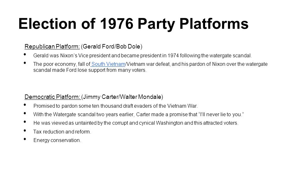 Election of 1976 Party Platforms