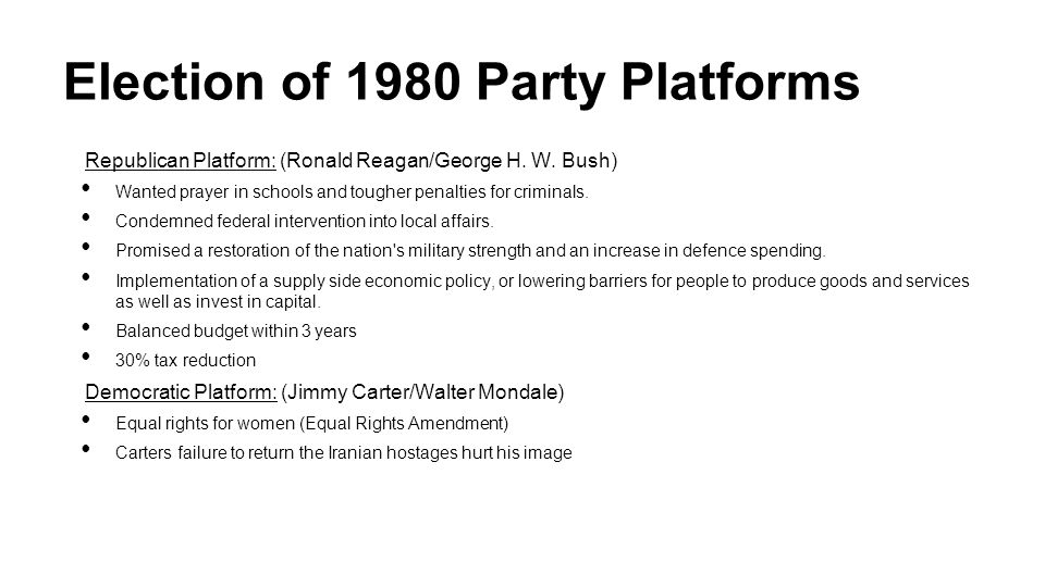 Election of 1980 Party Platforms