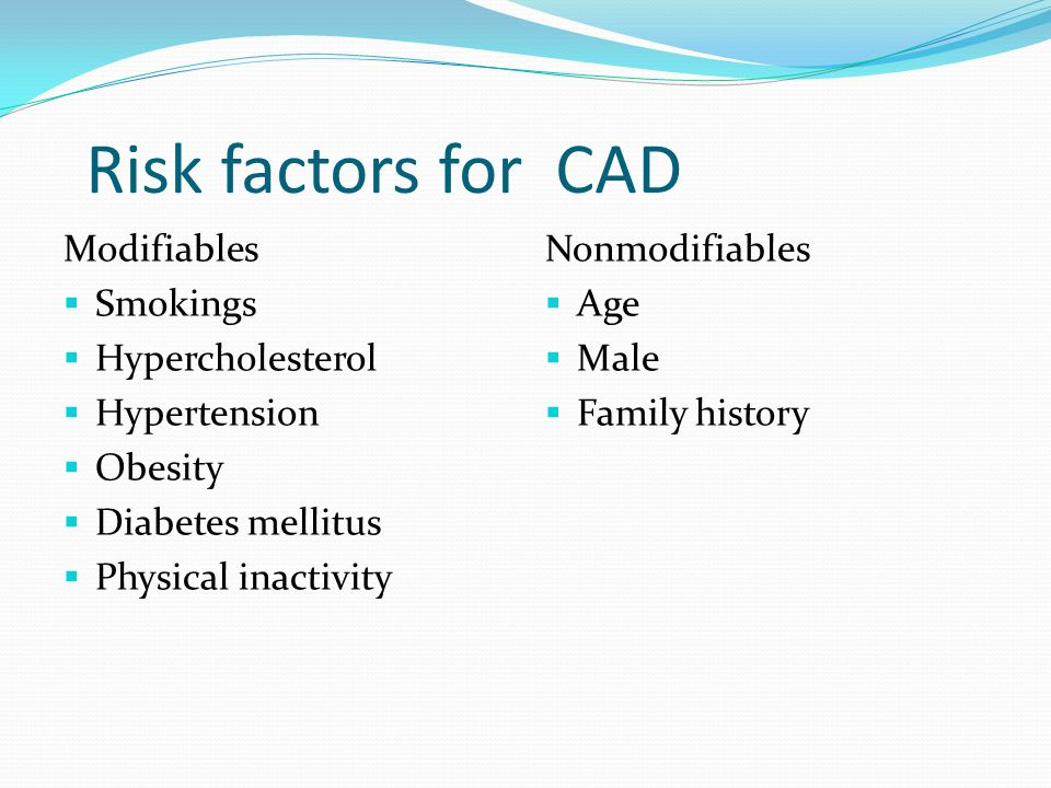 Risk factors for CAD Modifiables Smokings Hypercholesterol