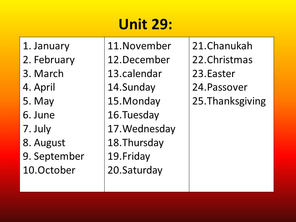 Unit 29: January February March April May June July August September