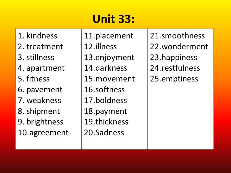 Unit 33: kindness treatment stillness apartment fitness pavement