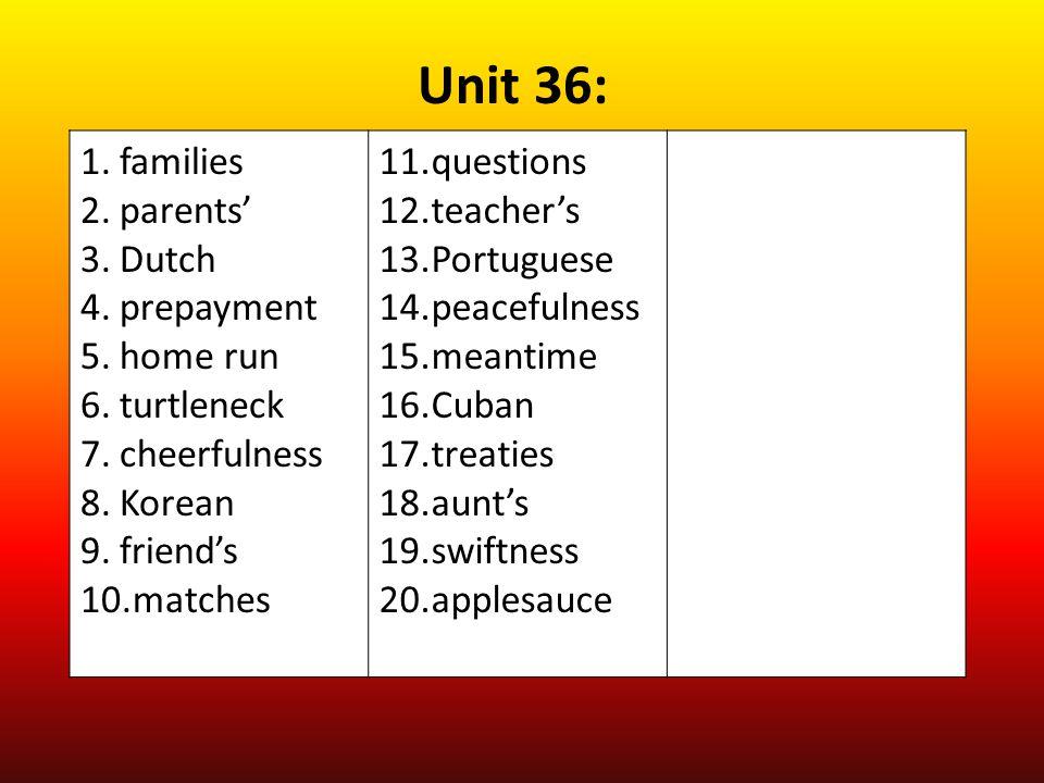 Unit 36: families parents' Dutch prepayment home run turtleneck