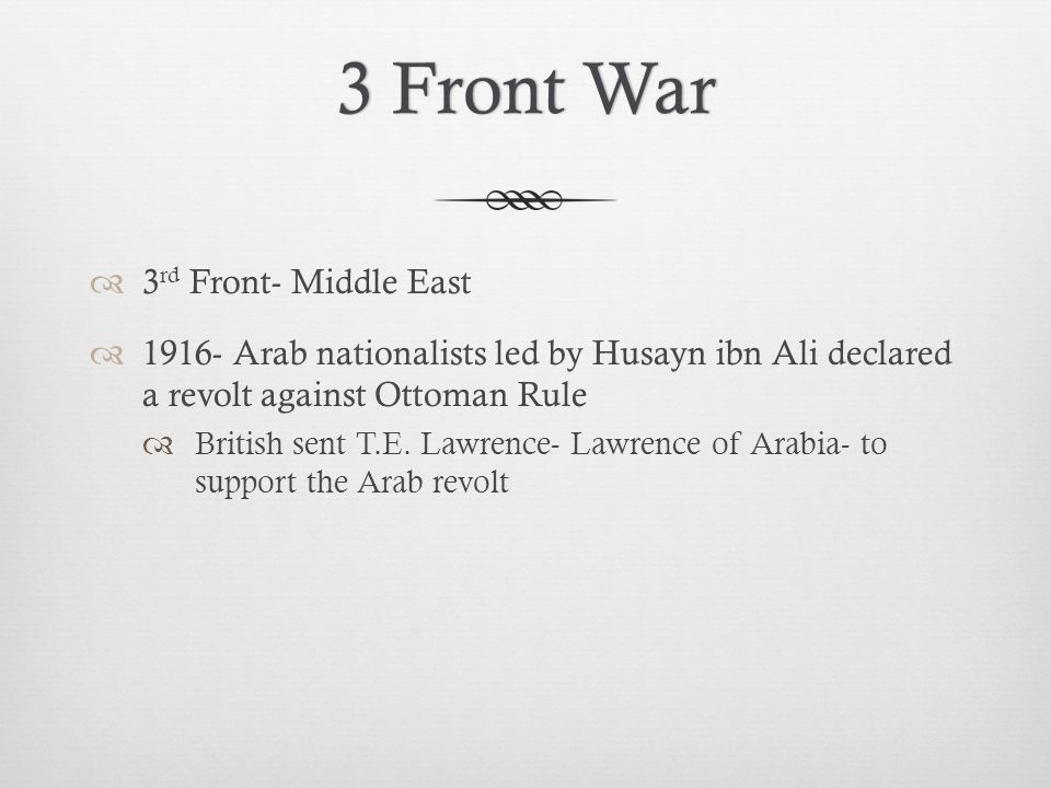3 Front War 3rd Front- Middle East