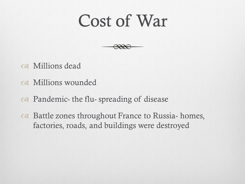 Cost of War Millions dead Millions wounded