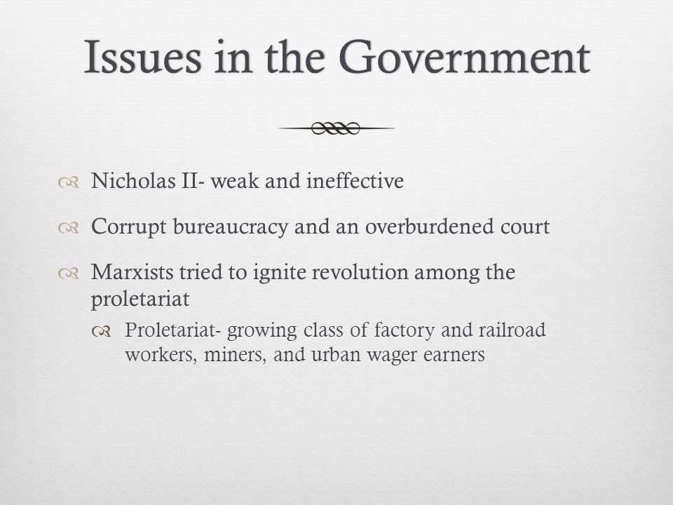 Issues in the Government