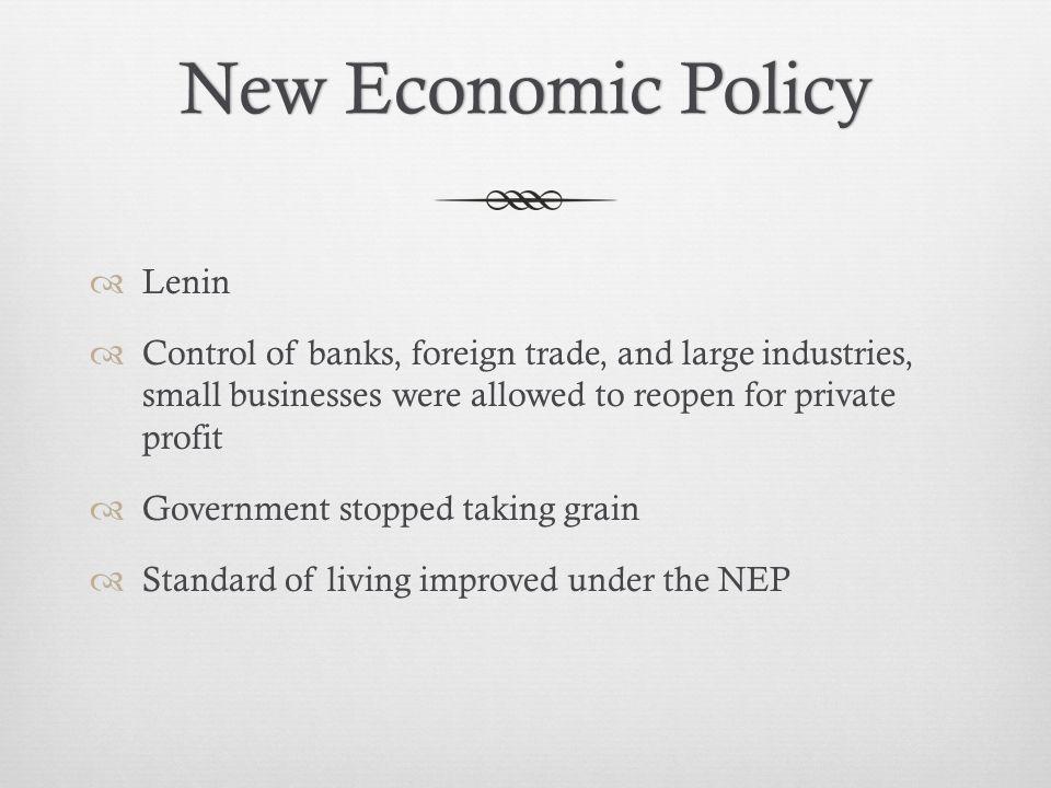 New Economic Policy Lenin