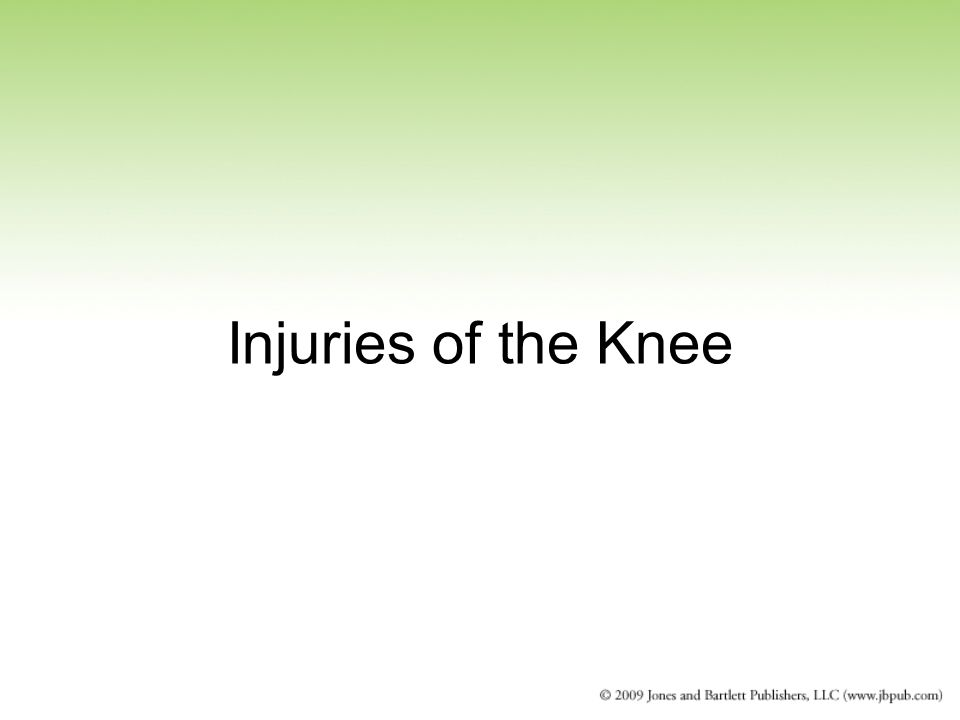 Injuries of the Knee