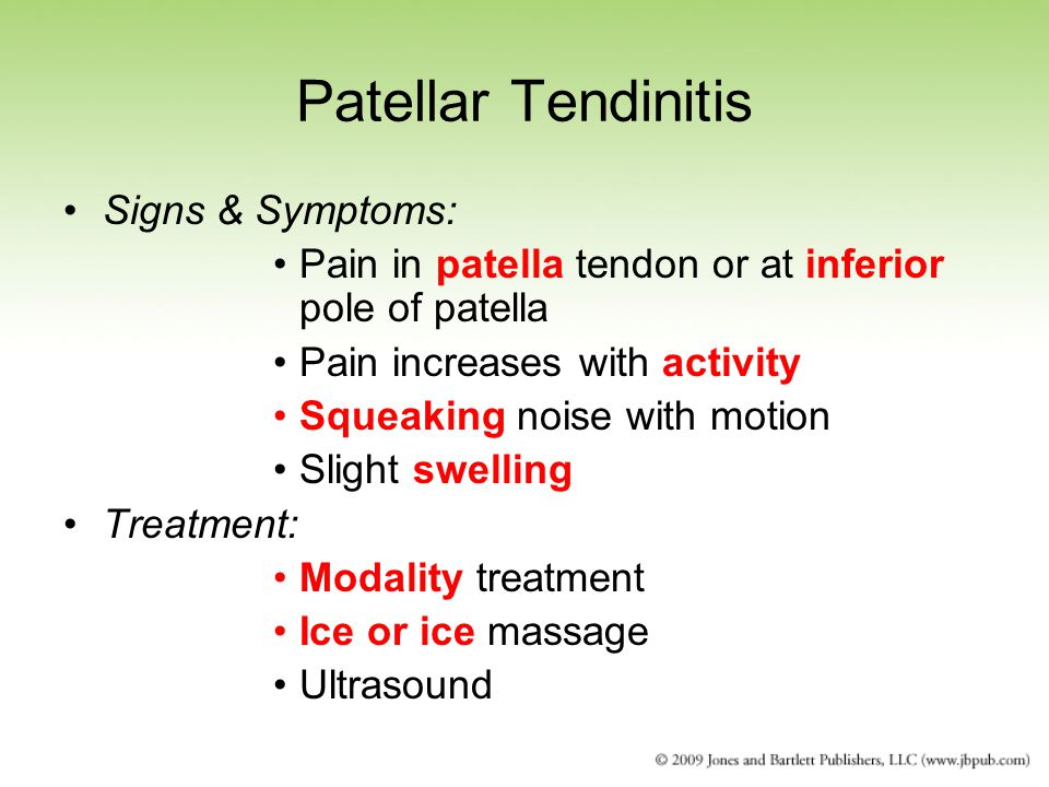 Patellar Tendinitis Signs & Symptoms: