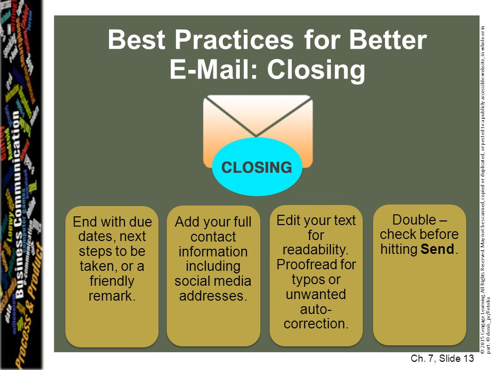 Best Practices for Better E-Mail: Closing