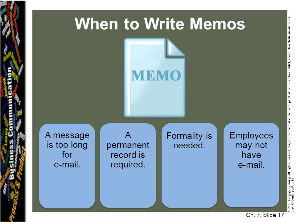 When to Write Memos A message is too long for