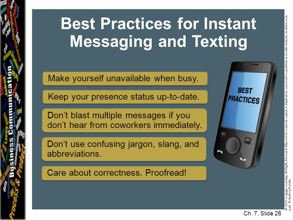 Best Practices for Instant Messaging and Texting