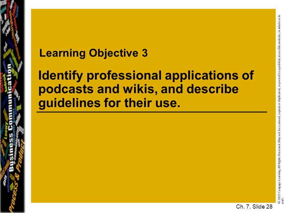 Learning Objective 3 Identify professional applications of podcasts and wikis, and describe guidelines for their use.