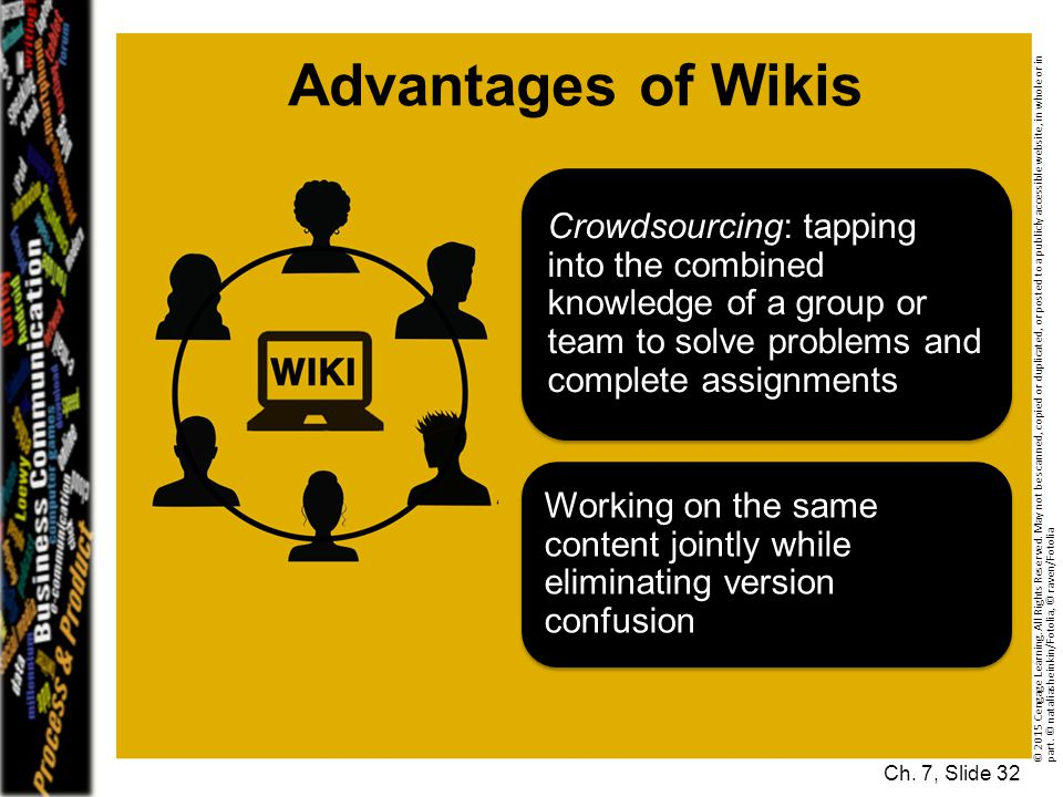 Advantages of Wikis Crowdsourcing: tapping into the combined knowledge of a group or team to solve problems and complete assignments.