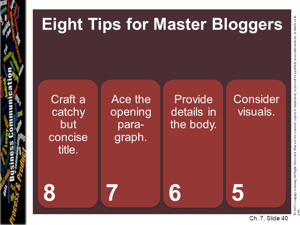 Eight Tips for Master Bloggers