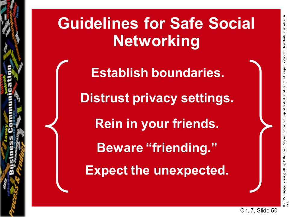 Guidelines for Safe Social Networking Distrust privacy settings.