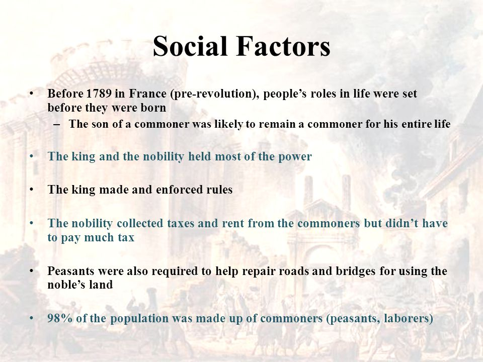 Social Factors Before 1789 in France (pre-revolution), people's roles in life were set before they were born.
