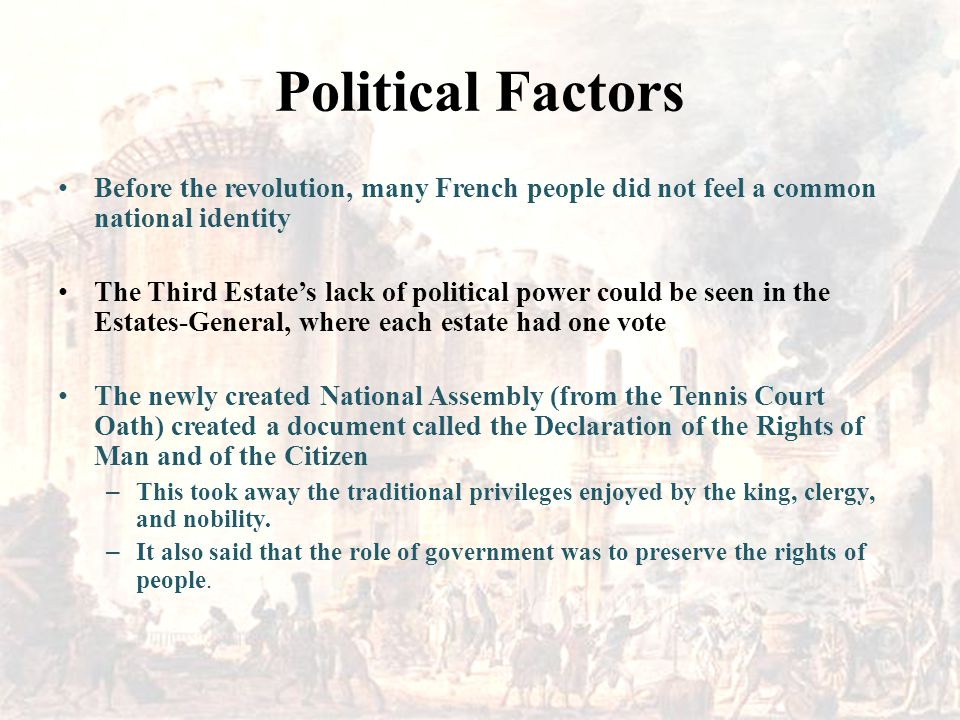 Political Factors Before the revolution, many French people did not feel a common national identity.