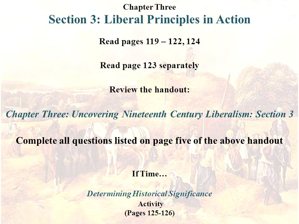 Section 3: Liberal Principles in Action