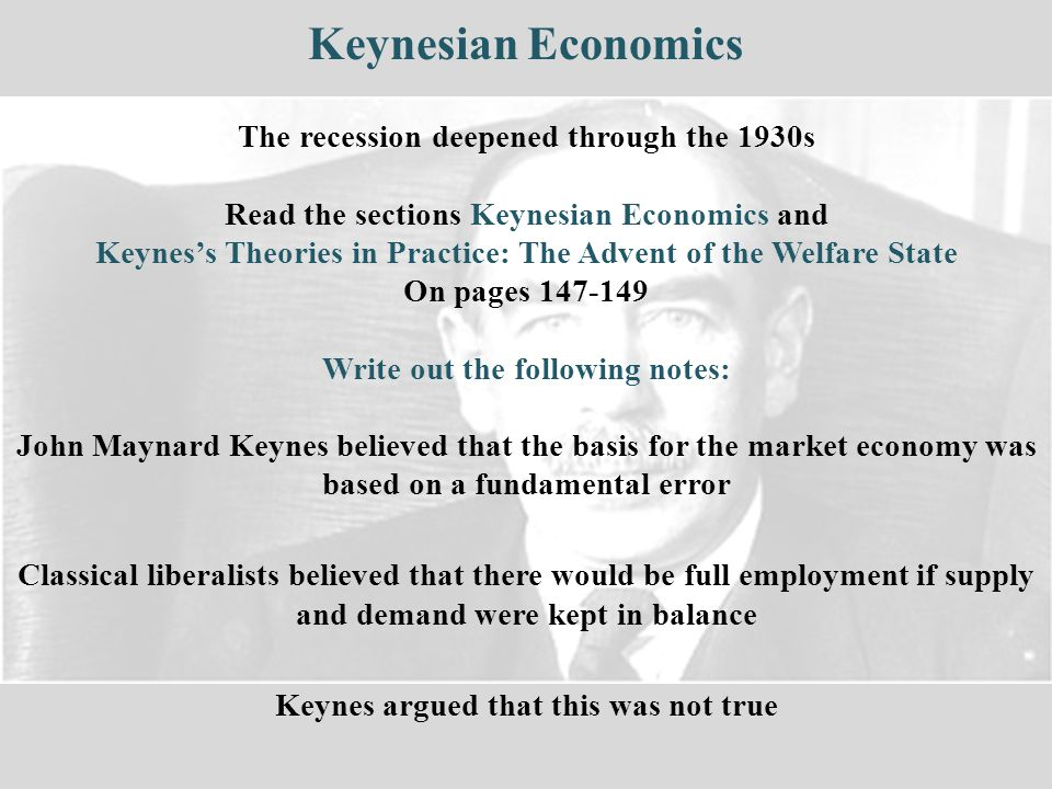 Keynesian Economics The recession deepened through the 1930s