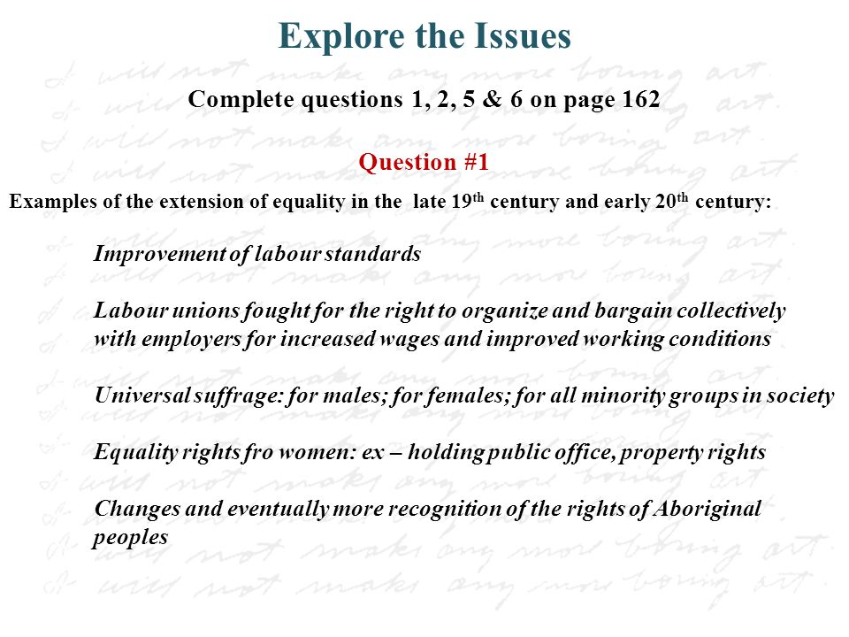 Complete questions 1, 2, 5 & 6 on page 162