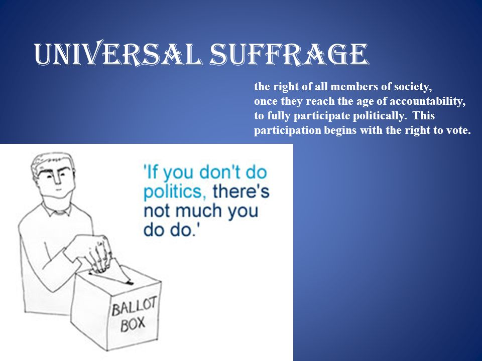 Universal suffrage the right of all members of society,