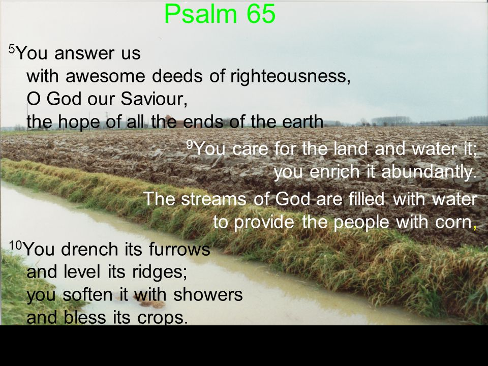 Psalm 65 5You answer us with awesome deeds of righteousness, O God our Saviour, the hope of all the ends of the earth.