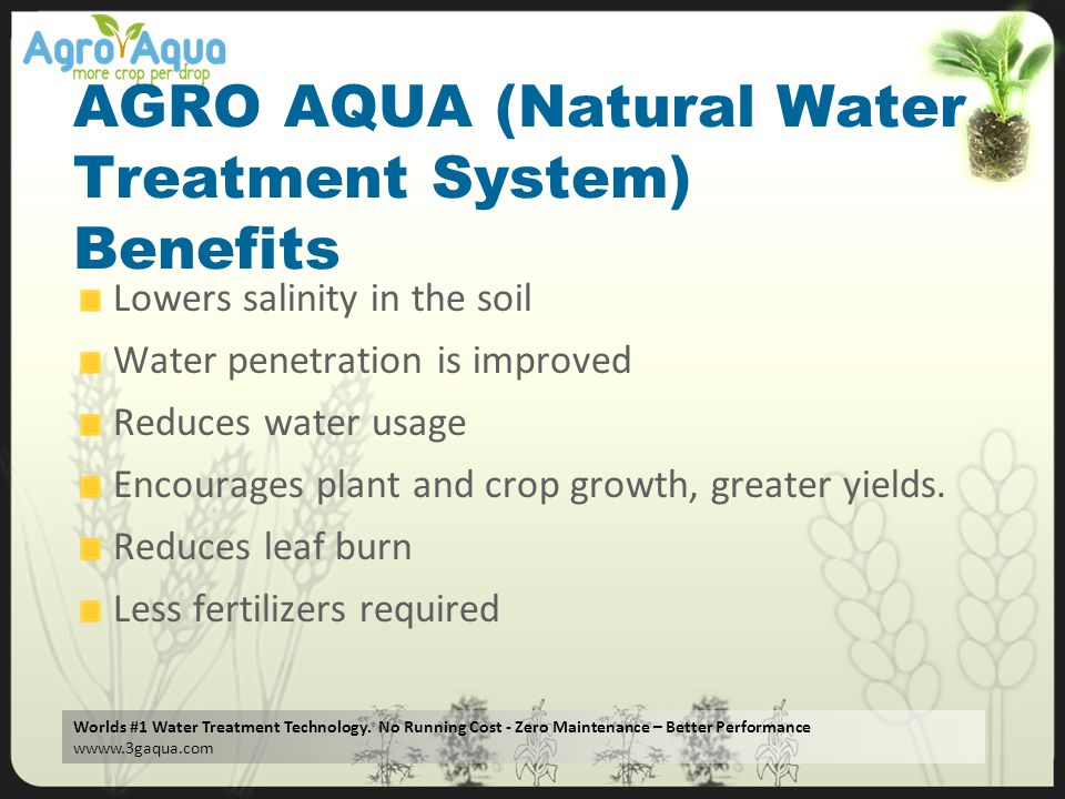 AGRO AQUA (Natural Water Treatment System) Benefits