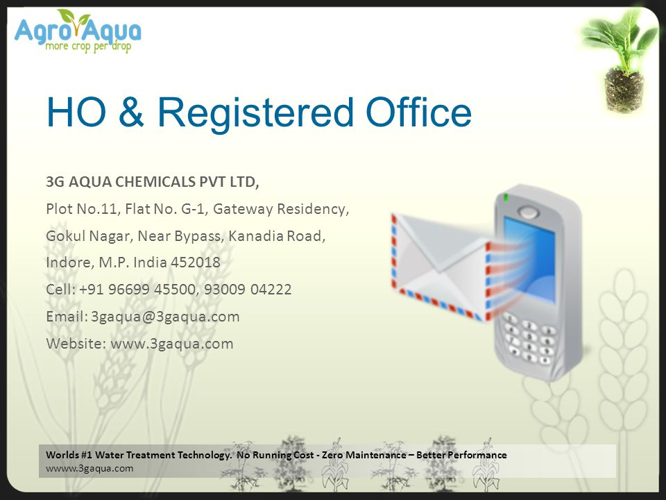 HO & Registered Office 3G AQUA CHEMICALS PVT LTD,