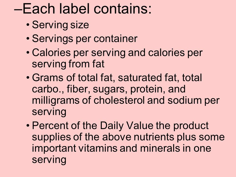 Each label contains: Serving size Servings per container