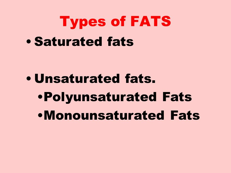Types of FATS Saturated fats Unsaturated fats. Polyunsaturated Fats
