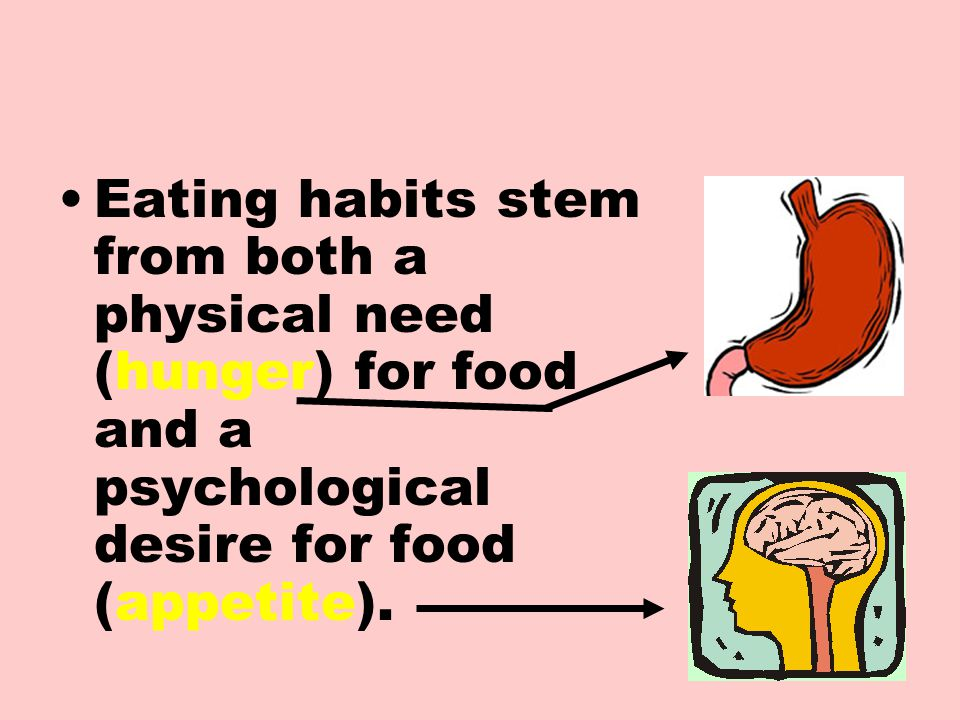 Eating habits stem from both a physical need (hunger) for food and a psychological desire for food (appetite).