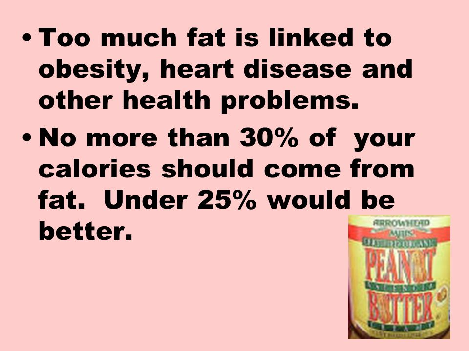 Too much fat is linked to obesity, heart disease and other health problems.
