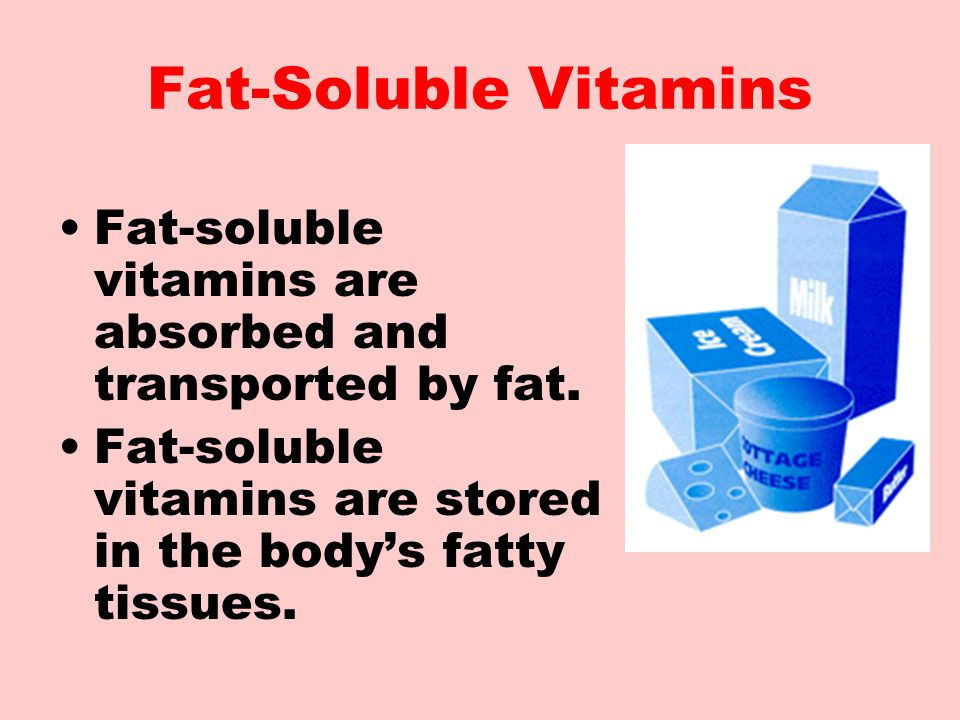 Fat-Soluble Vitamins Fat-soluble vitamins are absorbed and transported by fat.