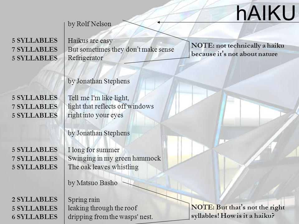 hAIKU by Rolf Nelson Haikus are easy