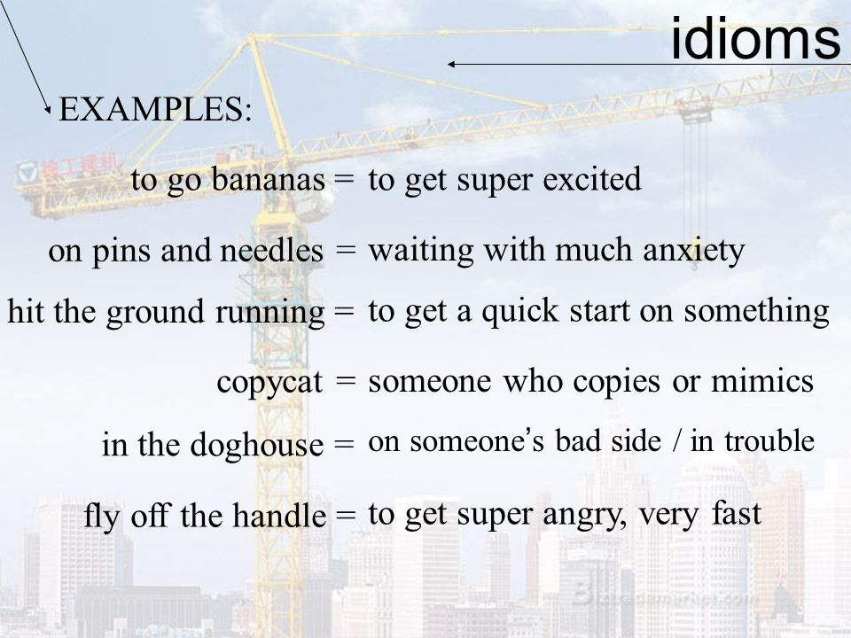 idioms EXAMPLES: to go bananas = to get super excited