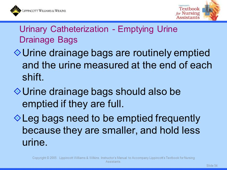 Urine drainage bags should also be emptied if they are full.