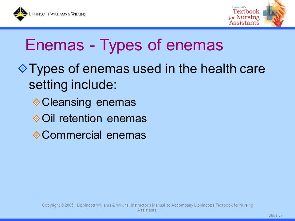 Enemas - Types of enemas