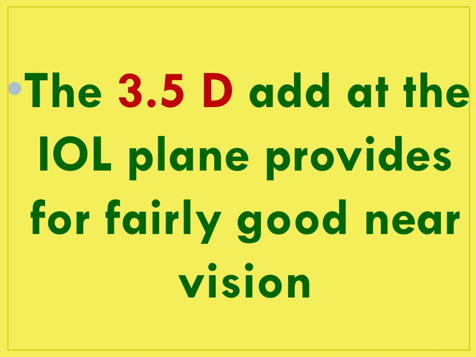 The 3.5 D add at the IOL plane provides for fairly good near vision