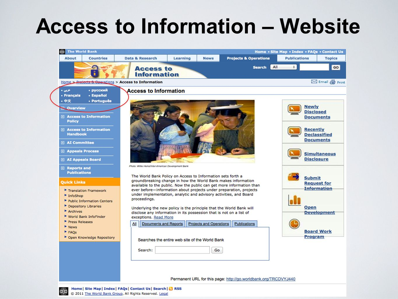 Access to Information – Website