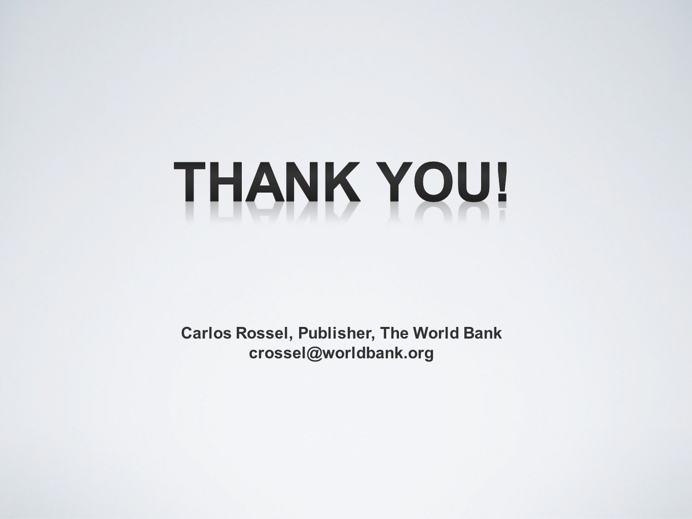 Carlos Rossel, Publisher, The World Bank