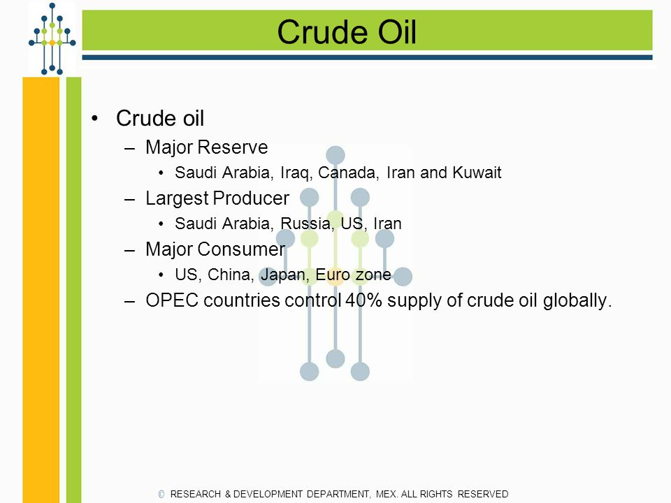 Crude Oil Crude oil Major Reserve Largest Producer Major Consumer