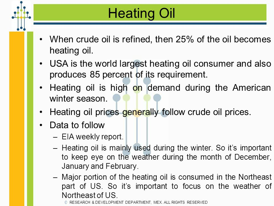 Heating Oil When crude oil is refined, then 25% of the oil becomes heating oil.