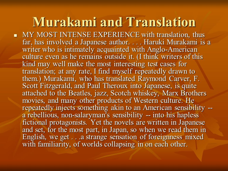 Murakami and Translation