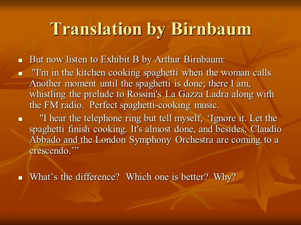 Translation by Birnbaum