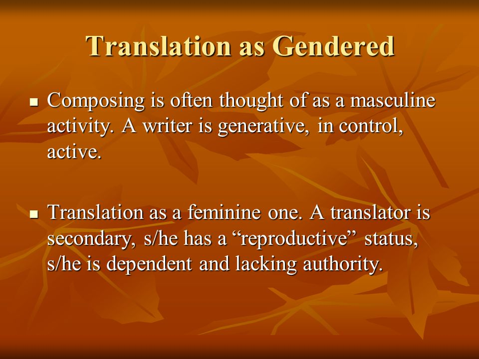 Translation as Gendered