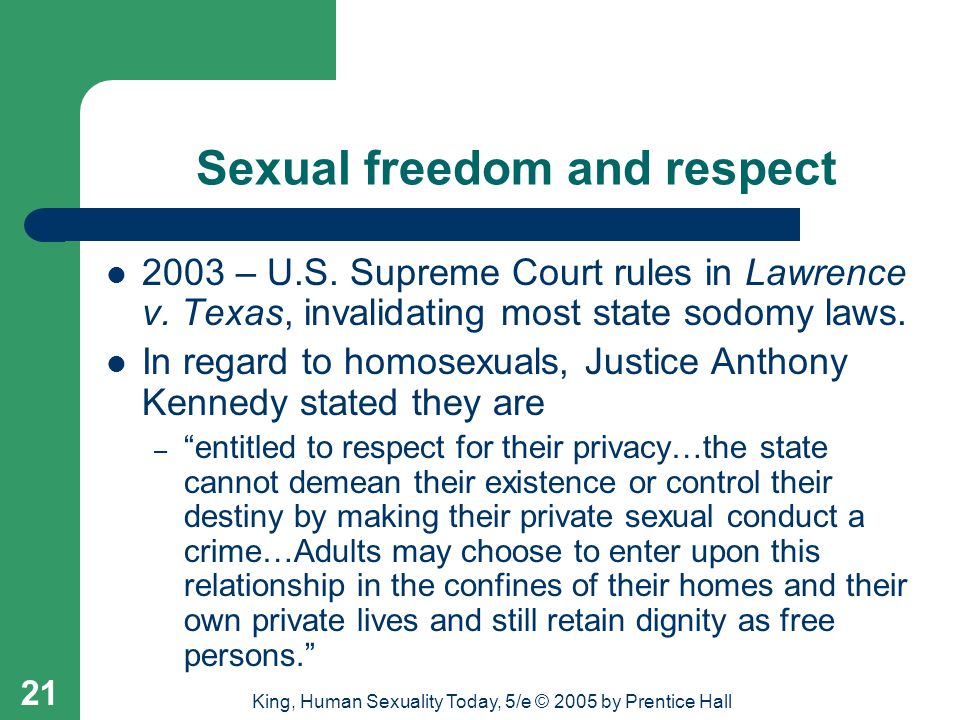 Sexual freedom and respect