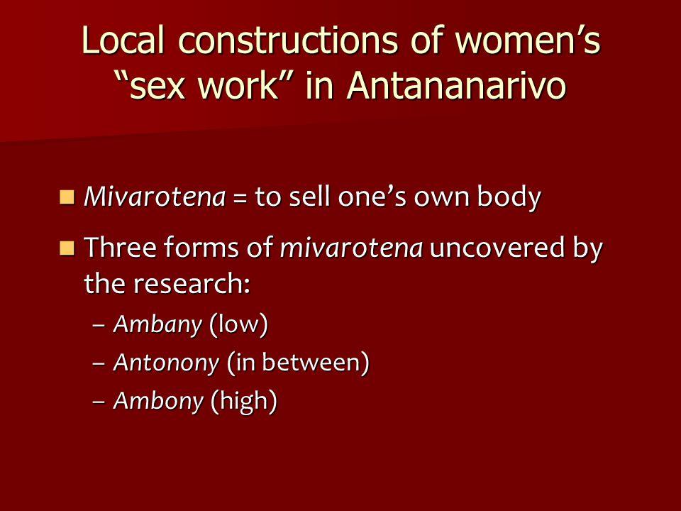 Local constructions of women's sex work in Antananarivo