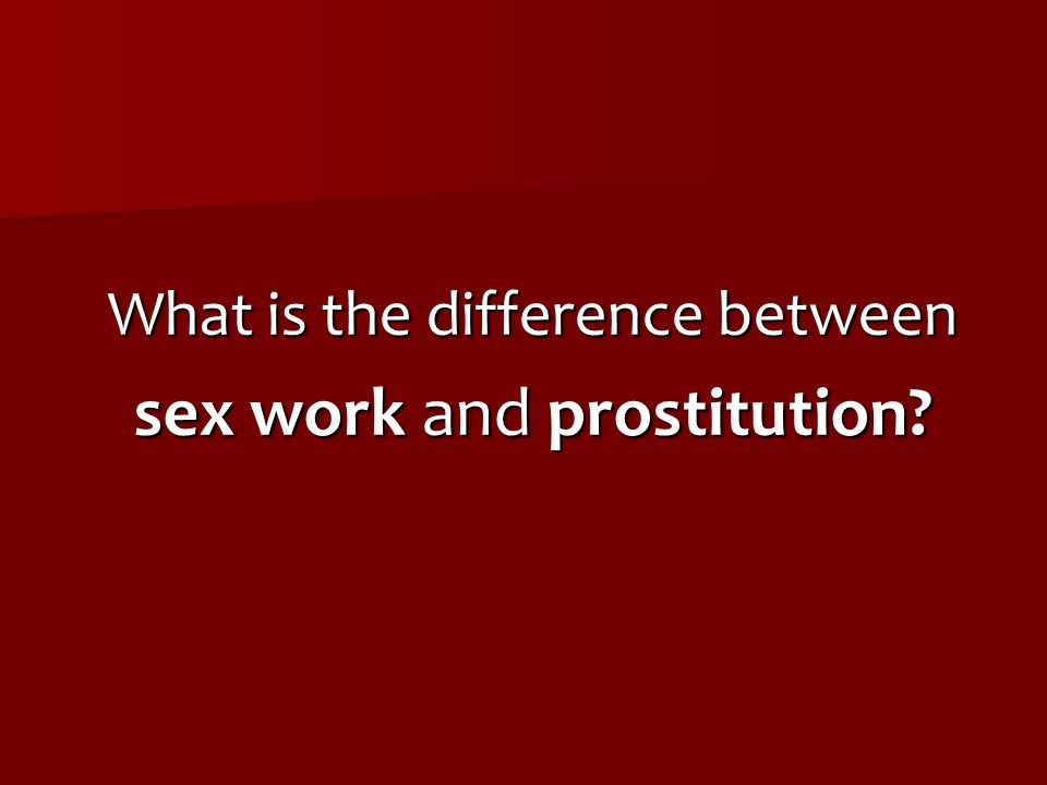 sex work and prostitution